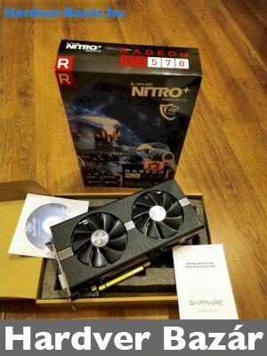 SAPPHIRE Nitro+ RX 570 4GB OC-s (Dobozal, tesztelt, LED világítás, kevesett futott) eladó