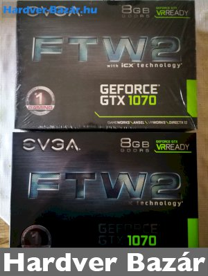 2x EVGA GeForce GTX 1070 FTW2 Gaming iCX 8192MB GDDR5 eladó