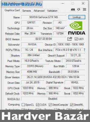 NVIDIA GeForce GTX 745 4GB DDR3 eladó
